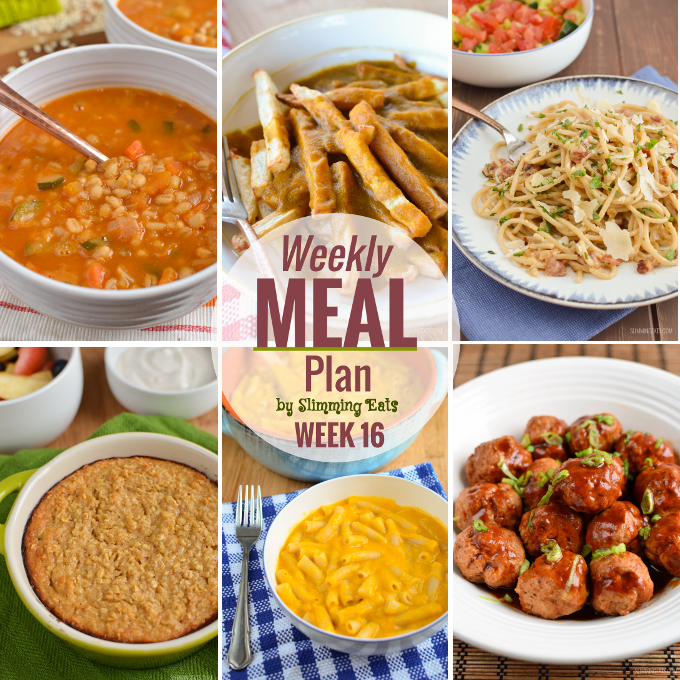 Slimming Eats Weekly Meal Plan - Week 16 - Slimming World