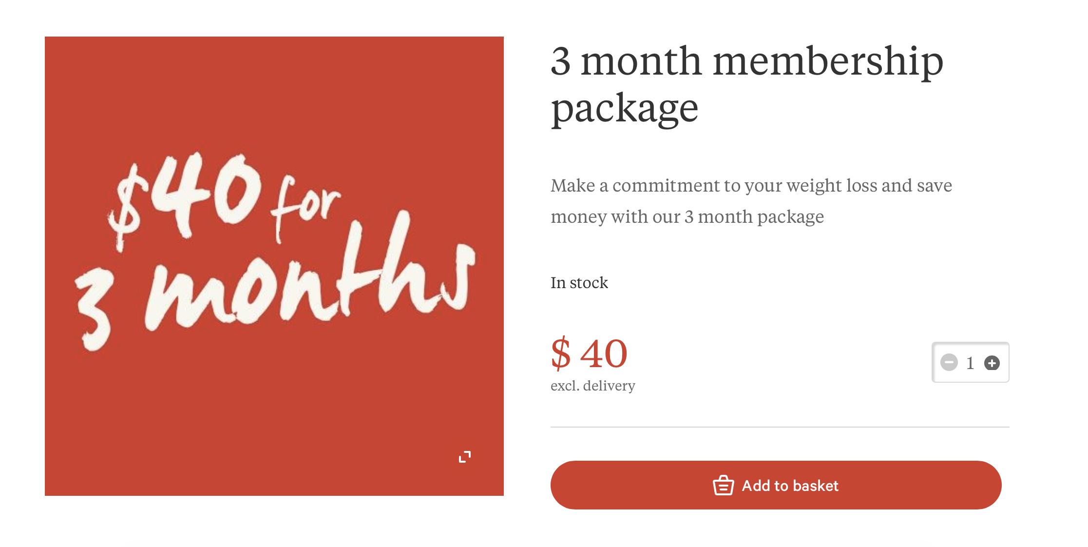 membership subscription screen for Slimming World USA