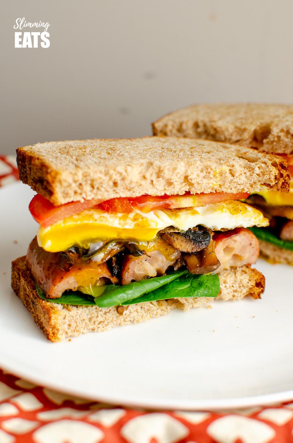 The Ultimate Breakfast Sandwich on white plate