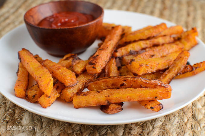 Slimming Eats Butternut Squash Fries - gluten free, dairy free, vegetarian, paleo, Whole30, Slimming World and Weight Watchers friendly