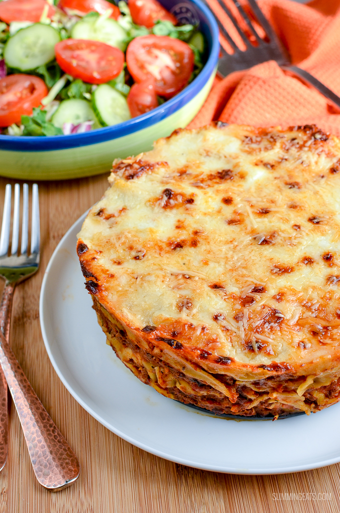 The Ultimate Low Syn Lasagne Pie - a firm family favourite that can be cooked in the Instant Pot or an oven.  | Slimming World and Weight Watchers friendly