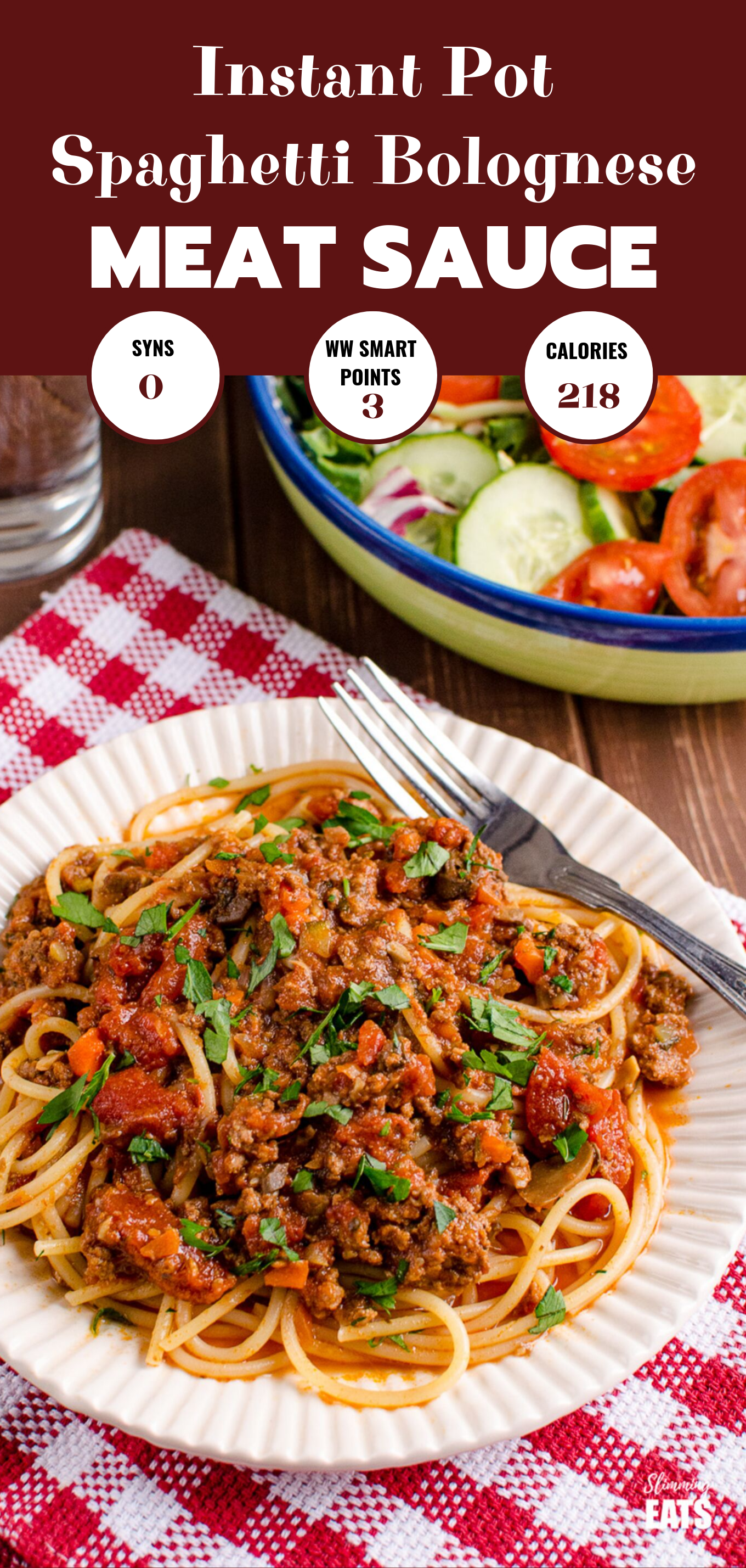 Instant Pot Slimming World Spaghetti Bolognese Meat Sauce featured pin