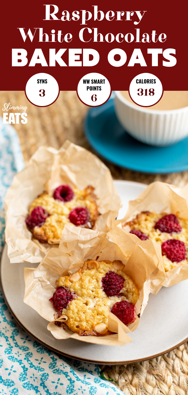 Raspberry and White Chocolate Baked Oatmeal on plate with cup of coffee PIN
