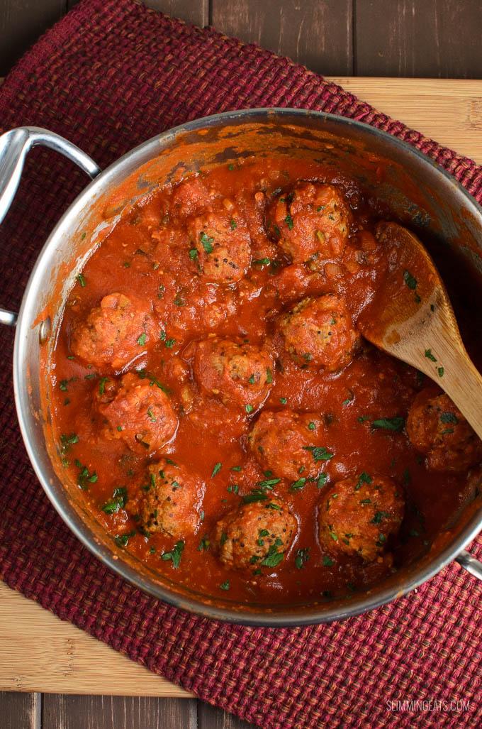 Slimming Eats Syn Free Chicken Quinoa Meatballs in Veggie Sauce - gluten free, dairy free, Slimming World and Weight Watchers friendly