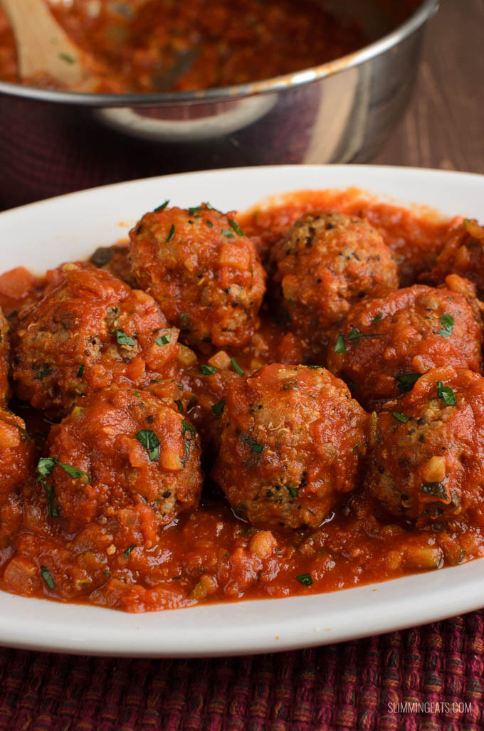 Slimming Eats Syn Free Chicken Quinoa Meatballs in Veggie Sauce - gluten free, dairy free, Slimming World and Weight Watchers friendly
