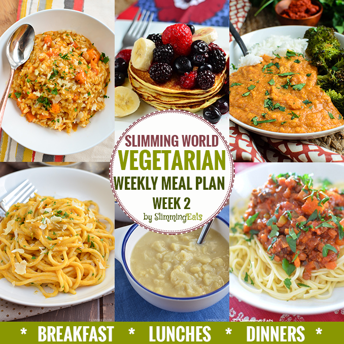 Slimming eats vegetarian weekly meal plan week 2 Slimming world recipes for 1 person