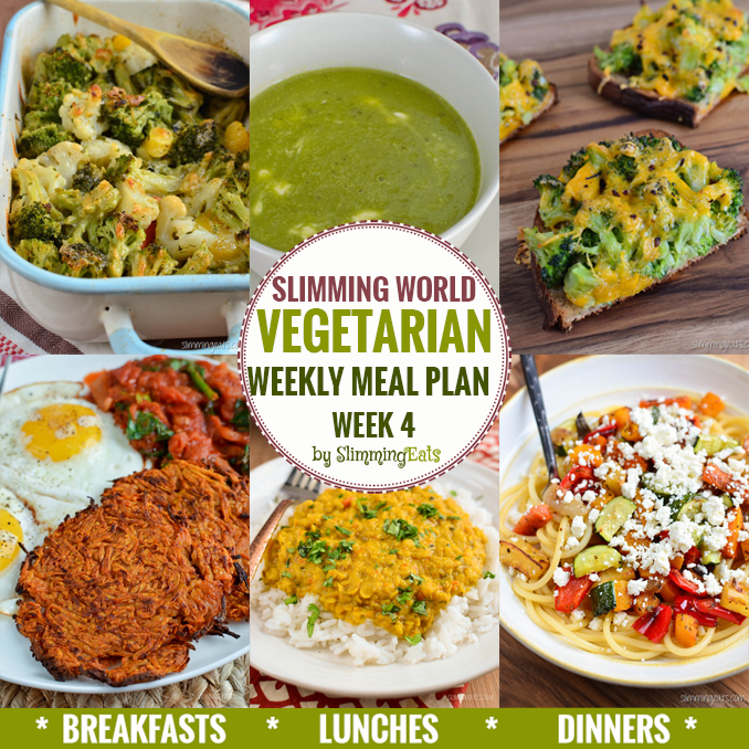 Slimming Eats Vegetarian Weekly Meal Plan - Week 4 - Slimming World recipes - taking the work out of planning so that you can just cook and enjoy the food.