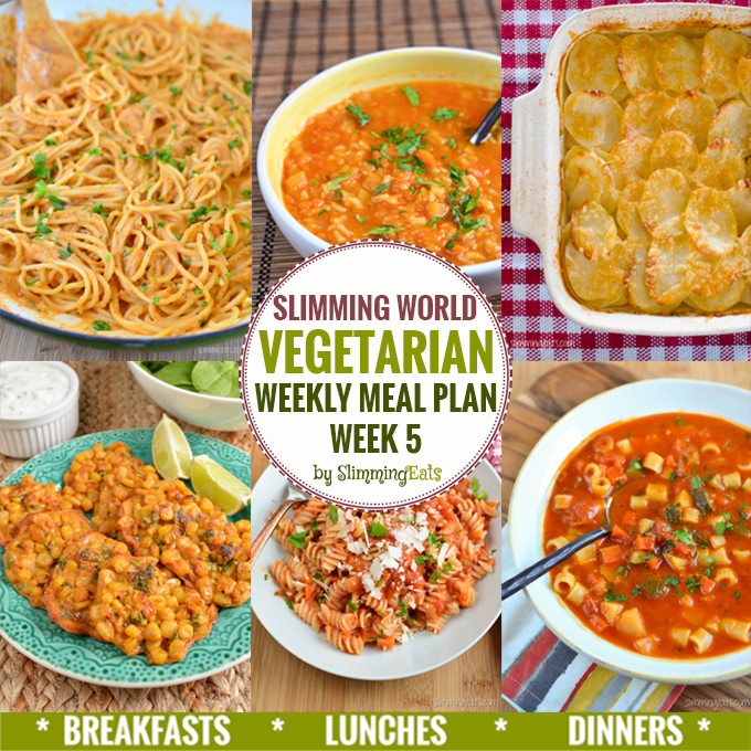 Slimming Eats Vegetarian Weekly Meal Plan - Week 5 - Slimming World recipes - taking the work out of meal planning, so that you can just cook and enjoy the delicious food.