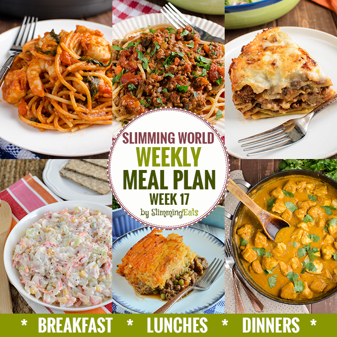 Slimming eats weekly meal plan week 17 slimming world recipes Slimming world meal ideas