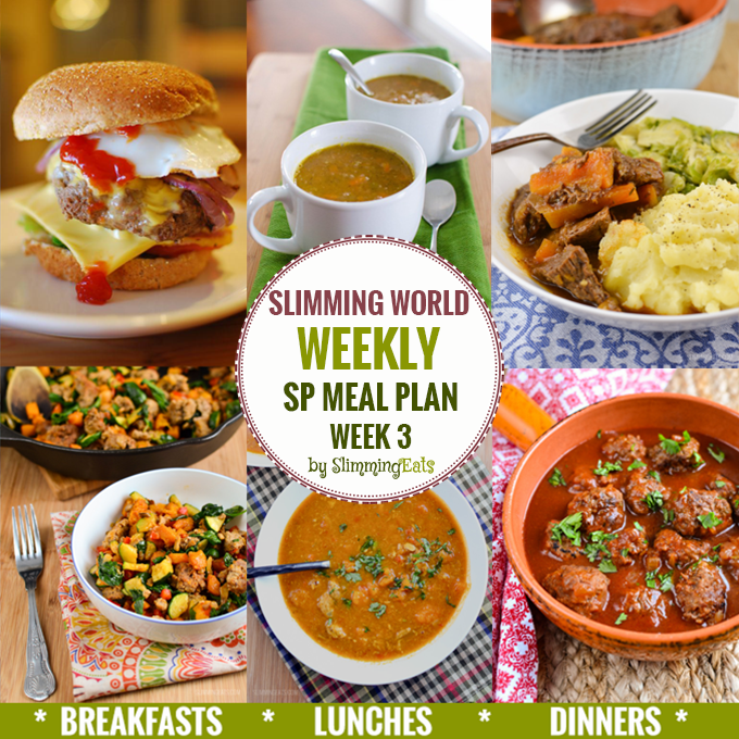 Slimming eats sp weekly meal plan week 3 slimming eats slimming world recipes Slimming world meal ideas