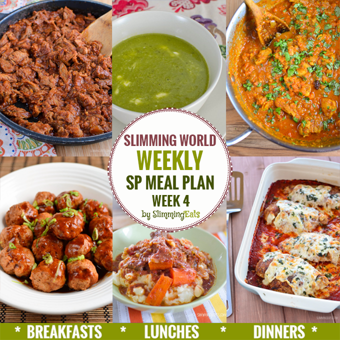 Slimming eats sp weekly meal plan week 4 slimming eats slimming world recipes Slimming world meal ideas