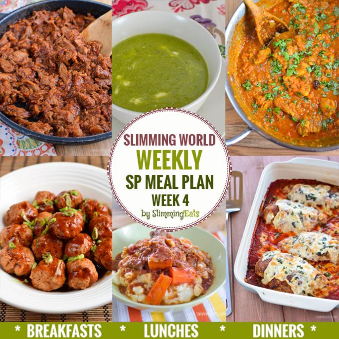 Slimming Eats SP Weekly Meal Plan - Week 4 - Slimming World Recipes
