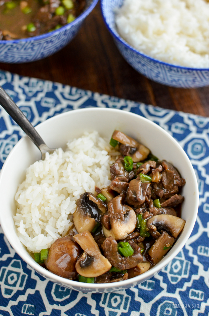 A low syn version of one the Chinese dish - Beef with Mushrooms in Oyster sauce only 0.5 syns per serving. Gluten Free, Dairy Free, Slimming World and Weight Watchers friendly | www.slimmingeats.com #chinese #slimmingworld #weightwatchers #dairyfree #fakeaway