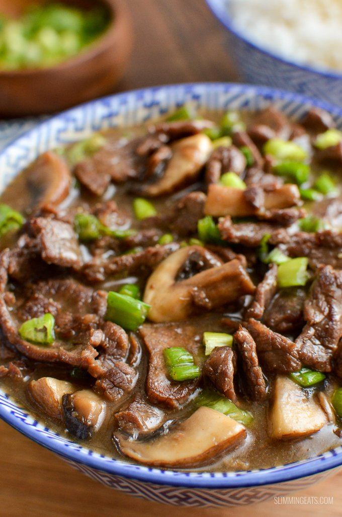 A low syn version of one the Chinese dish - Beef with Mushrooms in Oyster sauce only 0.5 syns per serving. Gluten Free, Dairy Free, Slimming World and Weight Watchers friendly | www.slimmingeats.com #chinese #slimmingworld #weightwatchers #dairyfree
