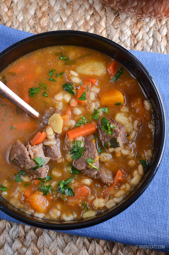 Slimming Eats Syn Free Beef Vegetable Barley Soup - dairy free, Slimming World and Weight Watchers friendly