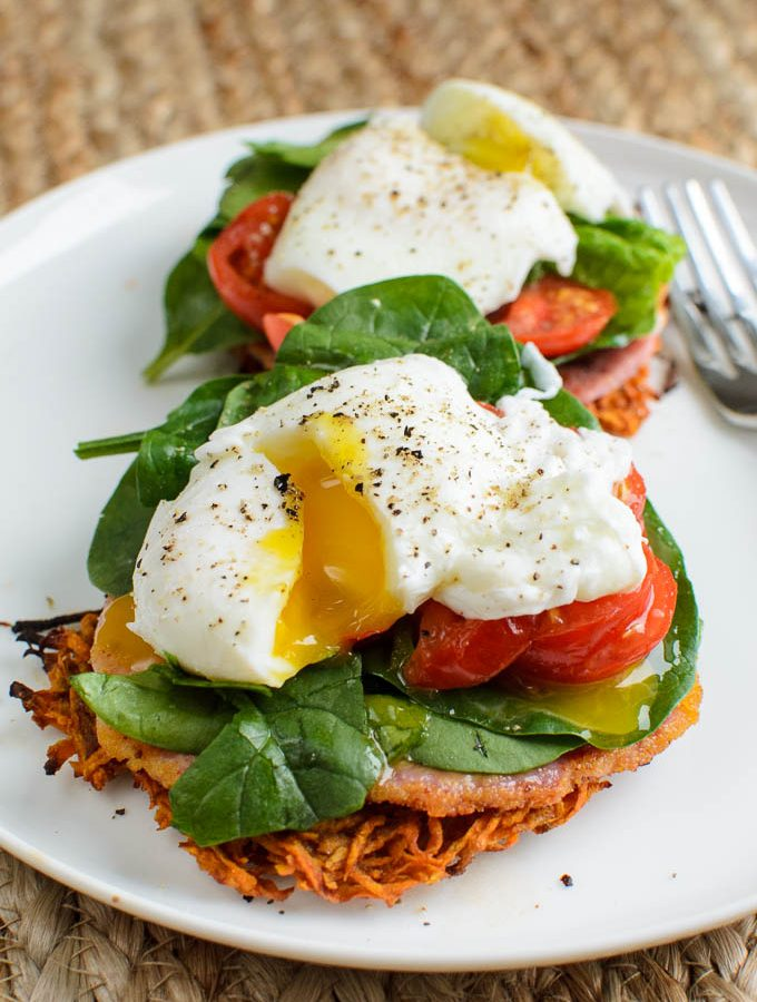 Sweet Potato Hash Brown Breakfast Stacks