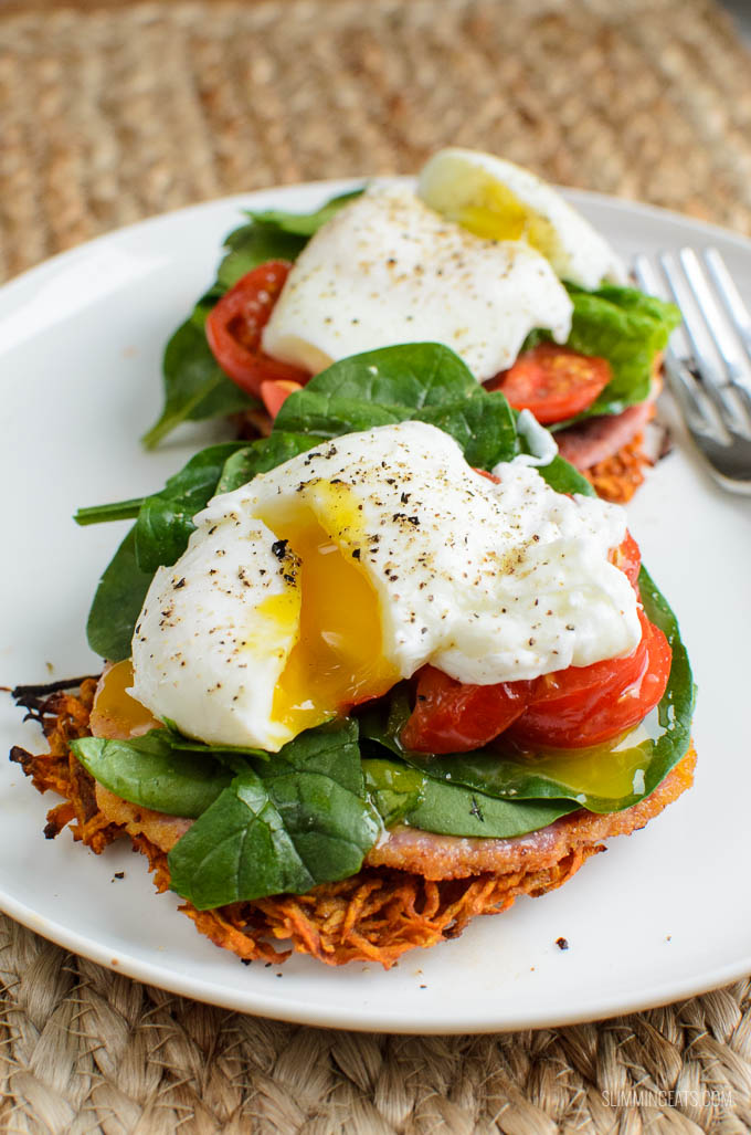 Slimming Eats Sweet Potato Hash Brown Breakfast Stacks - gluten free, dairy free, paleo, Slimming World and Weight Watchers friendly