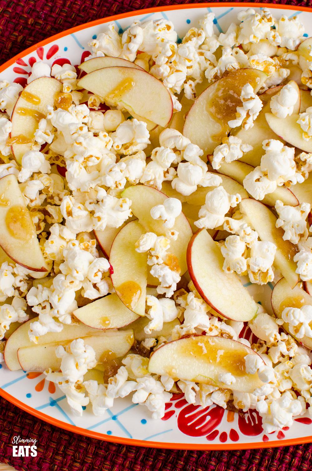 close up of caramel apple popcorn nachos