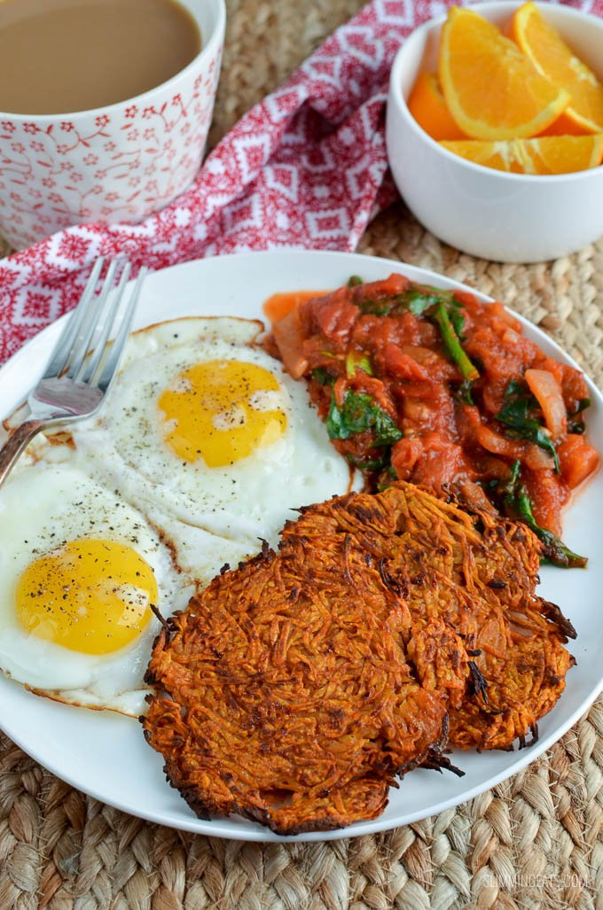 Slimming Eats Sweet Potato Hash Browns - gluten free, dairy free, vegetarian, paleo, Whole30, Slimming World and Weight Watchers friendly