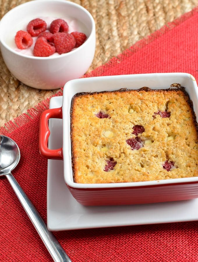 Raspberry and White Chocolate Baked Oatmeal