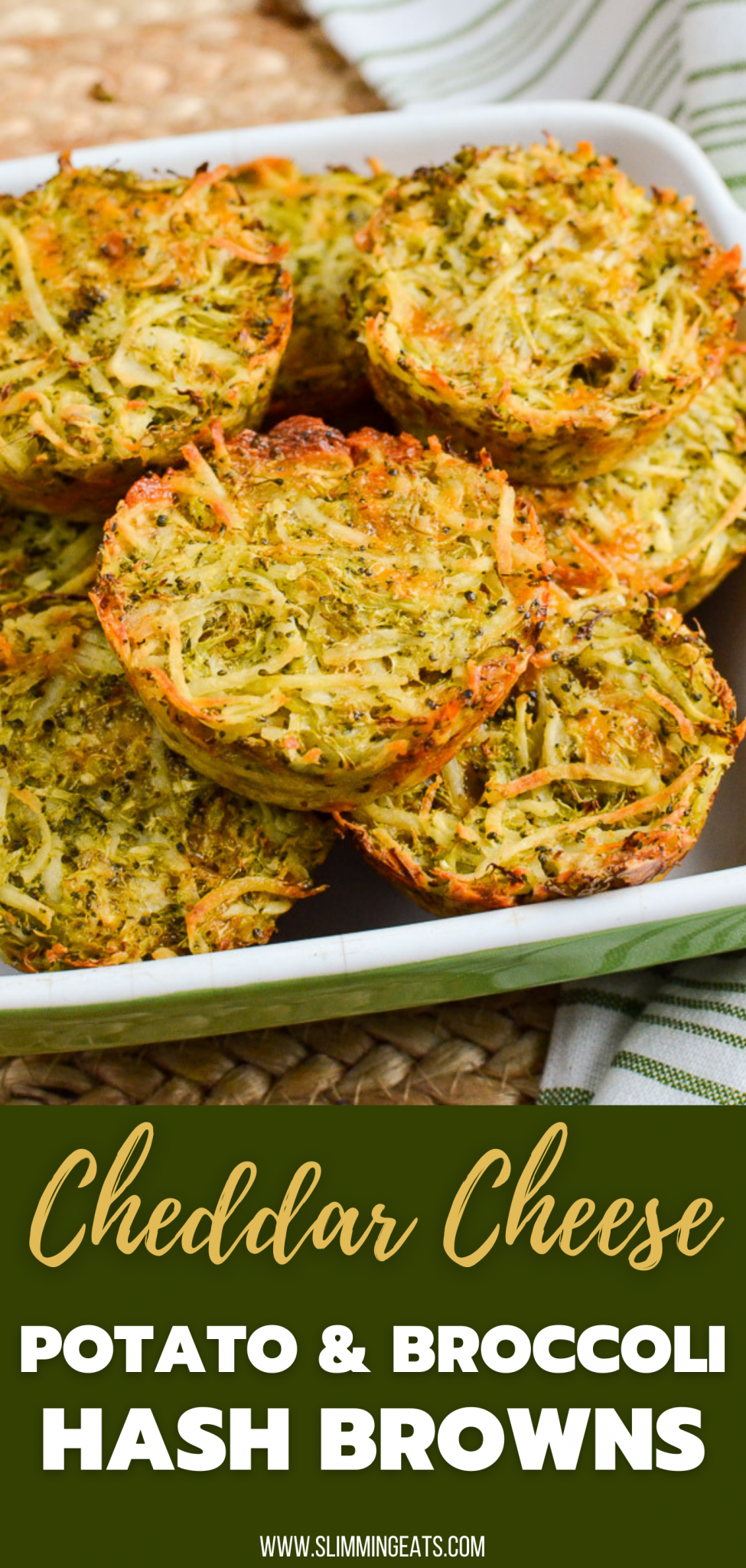 Broccoli Cheddar Hash Brown Muffins  in an oven dish with green and white striped napkin