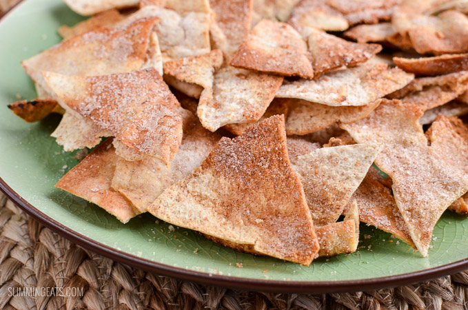 Slimming Eats Syn Free Oven Baked Cinnamon Sugar Pita Chips - dairy free, vegetarian, Slimming World and Weight Watcher friendly