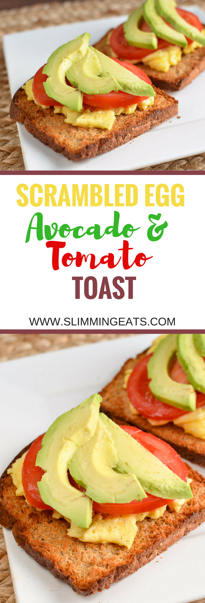 Slimming Eats Low Syn Scrambled Egg Toast with Avocado and Tomatoes - dairy free, vegetarian, Slimming World and Weight Watchers friendly