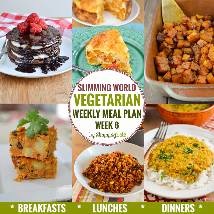 Slimming Eats Vegetarian Weekly Meal Plan - Week 6 - Slimming World - taking the work out of planning so that you can just cook and enjoy the food