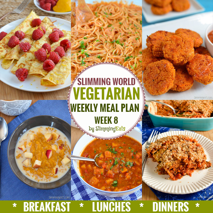 Slimming Eats Vegetarian Weekly Meal Plan - Week 8 - Slimming World Recipes - taking the work out of planning so that you can just cook and enjoy the food
