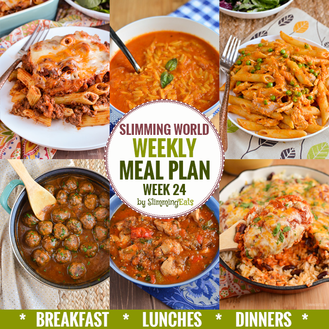 Slimming eats weekly meal plan week 24 slimming eats slimming world recipes Simple slimming world meals