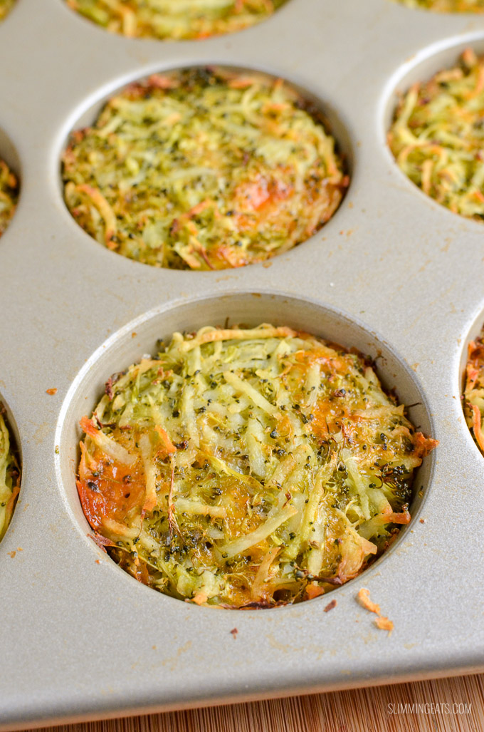 Slimming Eats Broccoli Cheddar Hash Brown Muffins - gluten free, vegetarian, Slimming World and Weight Watchers friendly