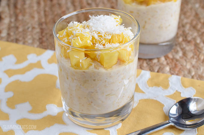 Slimming Eats Low Syn Pina Colada Overnight Oats - gluten free, vegetarian, Slimming World and Weight Watchers friendly