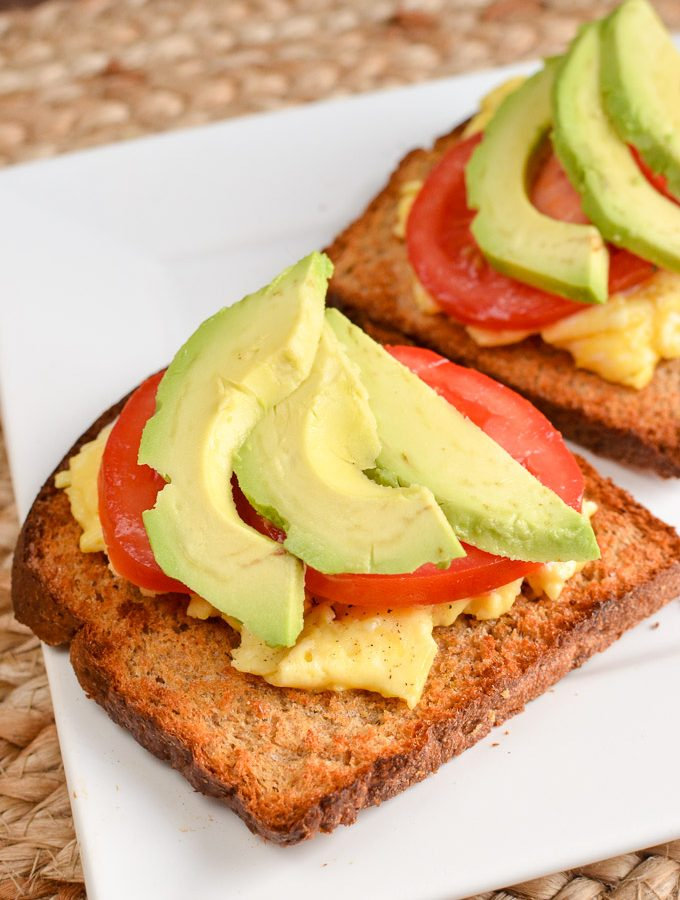 Low Syn Scrambled Egg Toast with Avocado and Tomatoes