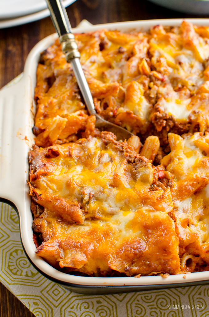 What better way to use up some leftover Sloppy Joes mix than in this delicious Sloppy Joe Pasta Bake, for a perfect family meal. Gluten Free, Slimming World and Weight Watchers friendly   www.slimmingeats.com