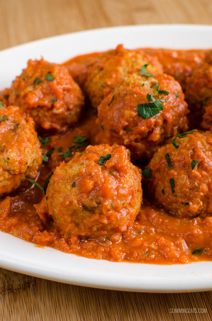 Slimming Eats Syn Free Vegetarian Meatballs in Creamy Tomato Sauce - gluten free, vegetarian, Slimming World and Weight Watchers friendly
