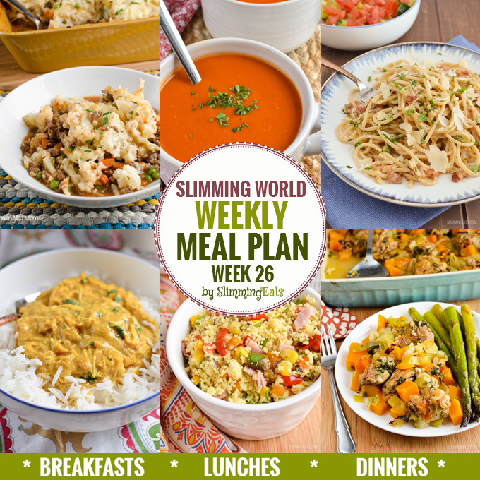 Slimming eats weekly meal plan week 26 slimming eats Where can i buy slimming world products