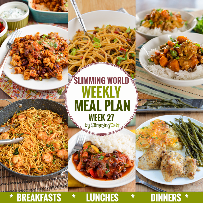 Slimming eats weekly meal plan week 27 slimming eats slimming world recipes Slimming world meal ideas