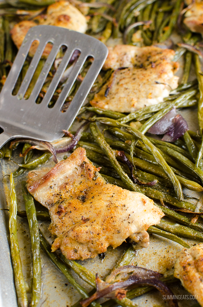 Slimming Eats Syn Free Garlic Chicken and French Bean Tray bake - gluten free, dairy free, paleo, Slimming World and Weight Watchers friendly