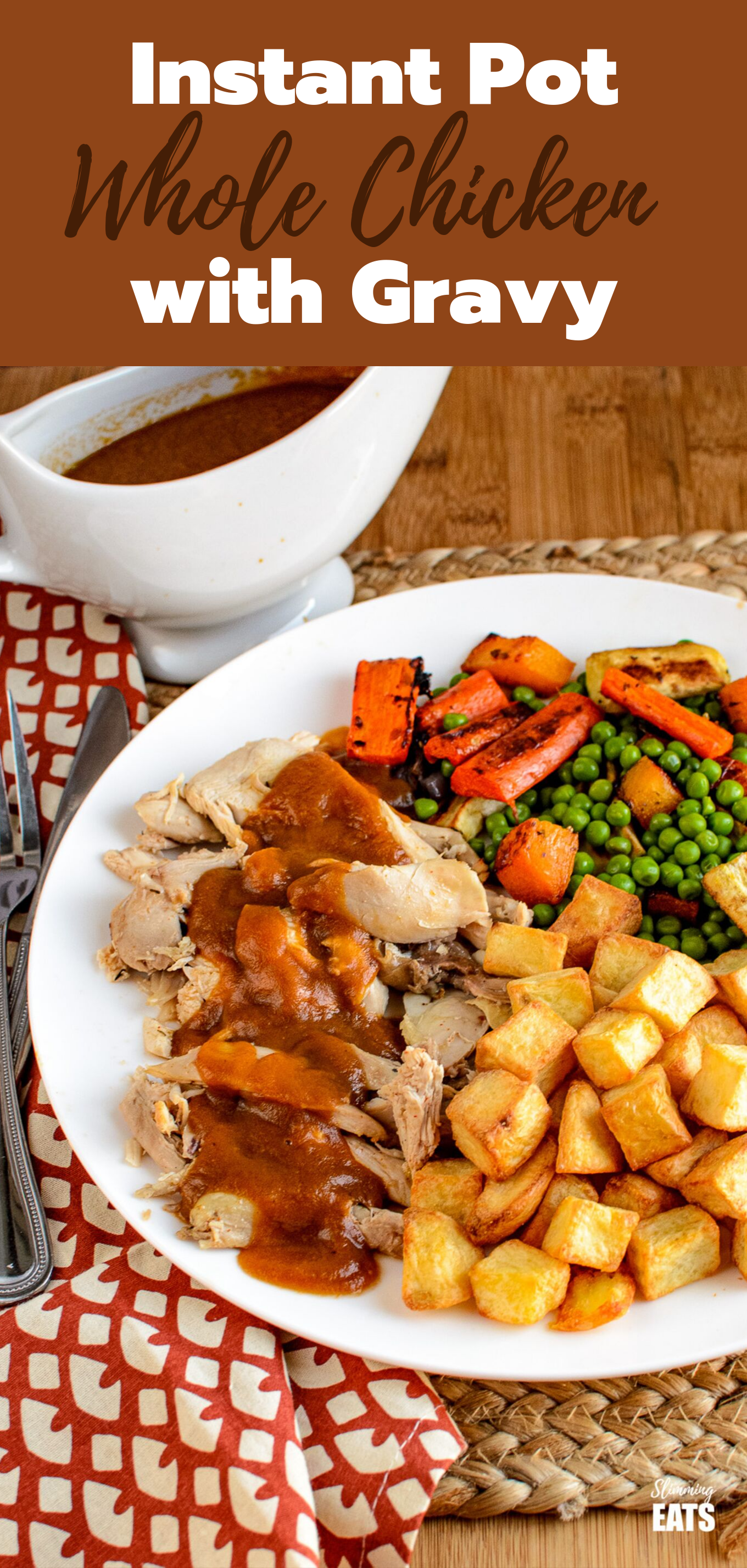 Instant Pot whole chicken with gravy pin image