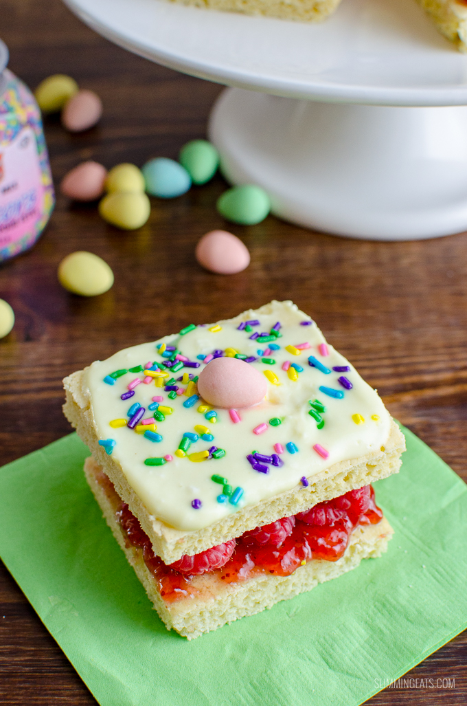Delicious Mini Egg Sponge Cake - a yummy low syn cake that you will want to make again and again. Slimming World and Weigh Watchers friendly