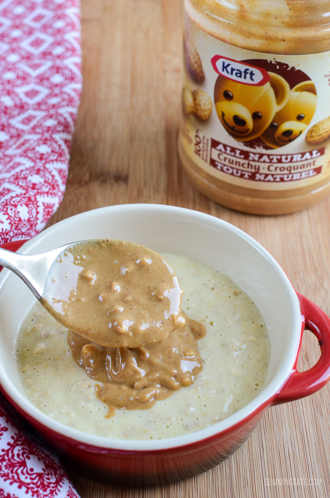 Slimming Eats Peanut Butter and Jelly Oatmeal - gluten free, vegetarian, Slimming World and Weight Watchers friendly