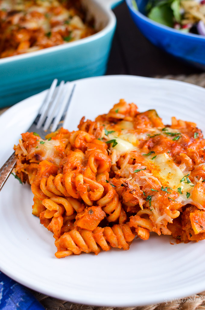 Slimming Eats Syn Free Roasted Butternut Squash Zucchini Pasta Bake - gluten free, vegetarian, Slimming World and Weight Watchers friendly