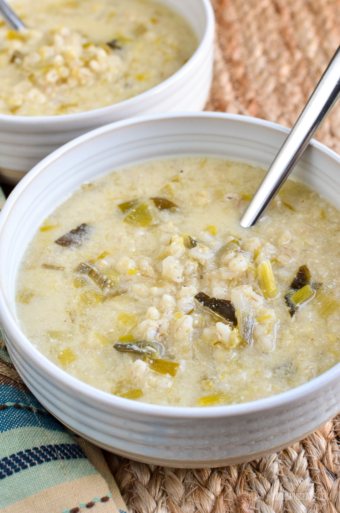 Slimming Eats Low Syn Creamy Leek and Pearl Barley Soup - dairy free, vegetarian, Slimming World and Weight Watchers friendly