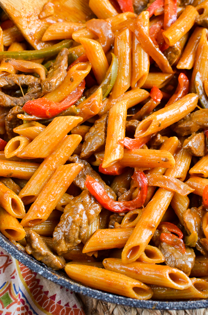 Slimming Eats Syn Free One Pot Beef Fajita Pasta - Slimming World and Weight Watchers friendly
