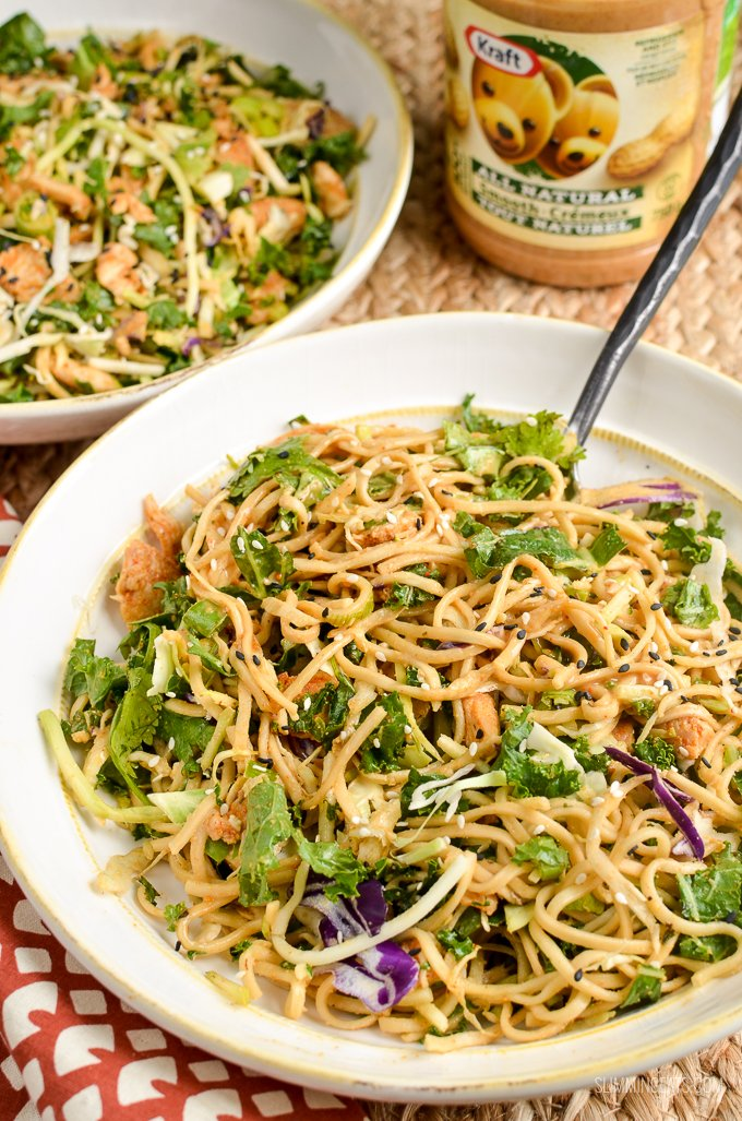 Slimming Eats Low Syn Peanut Chicken Noodle Salad Bowl - gluten free, dairy free, Slimming World and Weight Watchers friendly