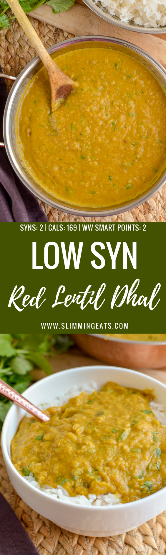 Simple but delicious Low Syn Red Lentil Dhal - pure comfort in a bowl and a perfect recipe for freezing leftovers - gluten free, dairy free, vegan, Slimming World and Weight Watchers friendly | www.slimmingeats.com