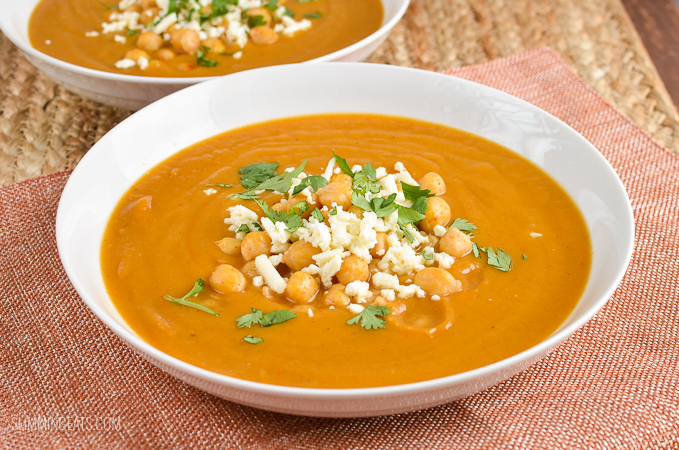 Slimming Eats Syn Free Spicy Roasted Parsnip and Sweet Potato Soup - gluten free, vegetarian, Slimming World and Weight Watchers friendly