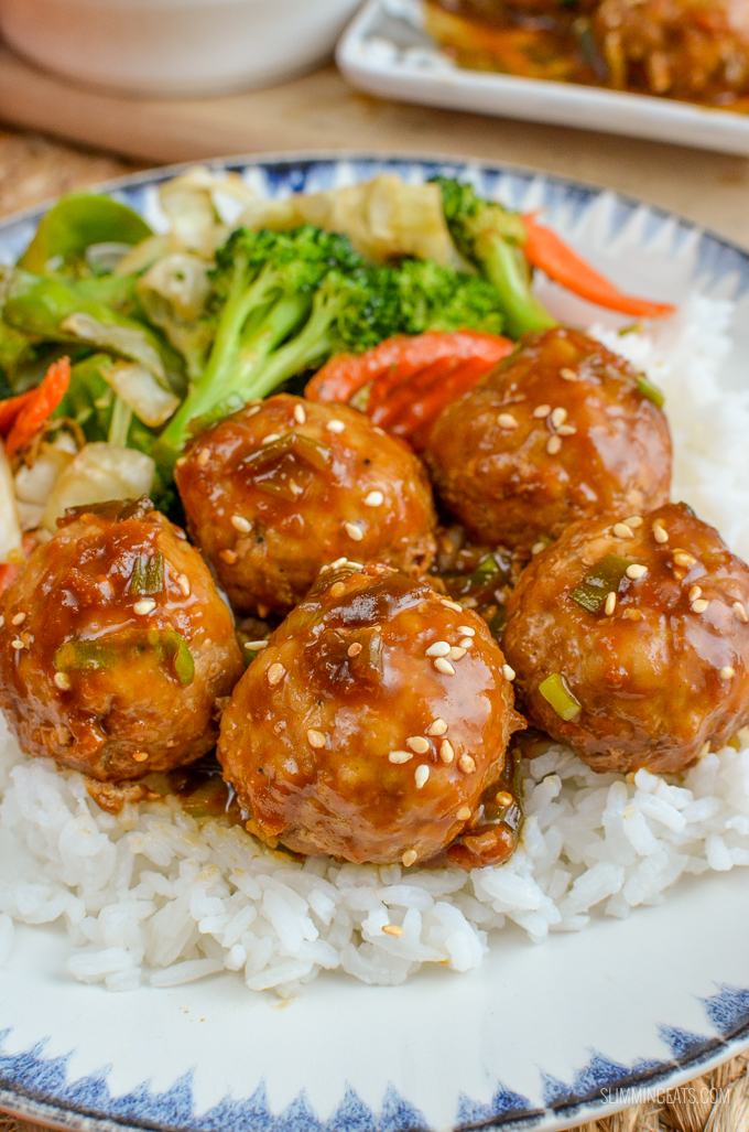 Slimming Eats - Apricot Chicken Meatballs - gluten free, dairy free, Slimming World and Weight Watchers friendly