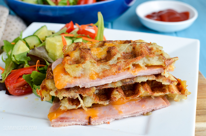Syn Free Cheese and Ham Stuffed Hash Brown Waffle - gluten free, Slimming World and Weight Watchers friendly