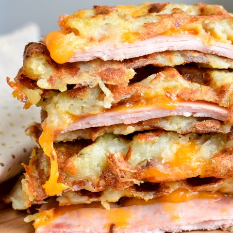 Syn Free Cheese and Ham Stuffed Hash Brown Waffle